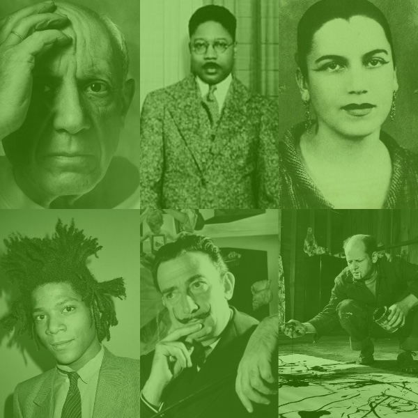 "Modernism Artists - photo credits: Basquiat- ""Andy Warhol"",Picasso- ""Arnold Newman"", Jackson Pollock - ""Martha Holmes, Aaron Douglas - ""Everett"", Dali - ""Philippe Halsman"", Tarsila do Amaral - ""Photographer Unknown"""